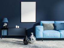 深蓝客厅,蓝色沙发,海报 库存例证