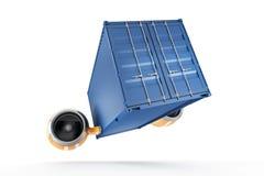 深蓝容器执行在白色背景的迫切交付 免版税库存照片