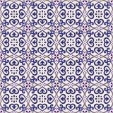 深蓝无缝的样式的azulejo浅灰色和 库存照片