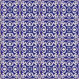深蓝无缝的样式的azulejo 免版税库存照片