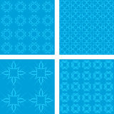 深蓝无缝的样式背景集合 免版税库存照片