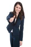 深蓝服装的-拇指可爱的被隔绝的女实业家 库存照片