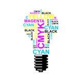 深蓝电灯泡CMYK的想法-,洋红色,黄色,黑色 库存照片