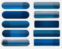深蓝高详细现代万维网按钮。 图库摄影