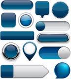 深蓝高详细现代按钮。 免版税库存照片