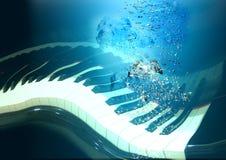 深钢琴水 库存照片