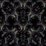深黑色3d巴洛克式的无缝的样式 传染媒介花卉锦缎bac 库存照片
