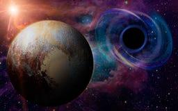深刻的黑洞,象眼睛在天空 图库摄影