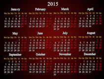 深紫红色日历在2015年 免版税库存照片