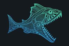 深水食肉动物鱼攻击 免版税库存照片