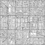 混乱传染媒介的抽象都市建筑 免版税库存图片