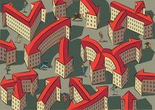 混乱和混乱的城市 免版税图库摄影
