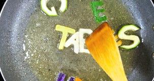 混乱油煎混杂的字母表信件,词菜 股票视频