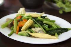 混乱油煎的混杂的蔬菜 免版税库存照片