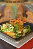 混乱油煎的菜和鸡 图库摄影