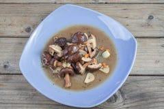 混乱油煎的蘑菇 库存图片