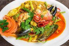 混乱油煎的螃蟹咖喱 库存照片