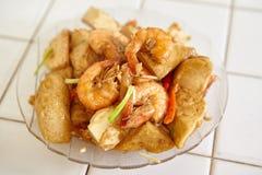 混乱油煎的辣虾豆腐 免版税库存照片