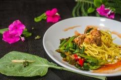 混乱油煎的面条用无头甘蓝,罐装鱼,菜单是偶然的,卖 泰国食物的样式 免版税库存照片