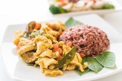 混乱油煎的绿色咖喱鸡用莓果米 库存照片