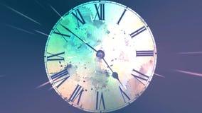 混乱移动的时钟 无限地快行时钟 弯曲的时间和空间的概念 Grunge时钟 向量例证