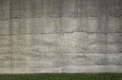 混凝土墙和草 免版税库存图片