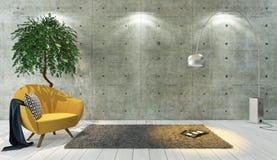 混凝土墙顶楼与黄色单个席位, backgrou的样式装饰 免版税库存图片