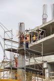混凝土桩建设中 免版税库存照片