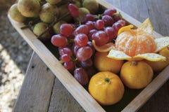 混合果子包括桔子,葡萄,并且Baccaurea motleyana担当开胃菜 库存照片