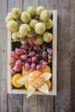 混合果子包括桔子,葡萄,并且Baccaurea motleyana担当开胃菜 免版税图库摄影
