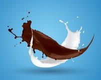 混合液体巧克力牛奶飞溅 免版税库存图片