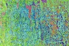 混合画法艺术品,在浅绿色的摘要五颜六色的艺术性的被绘的层数,黄色,在难看的东西纹理的蓝色色板显示 免版税库存图片