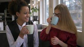 混合的族种朋友女孩画象做使与茶的叮当声叮当响在有空的咖啡馆和的微笑的 股票录像