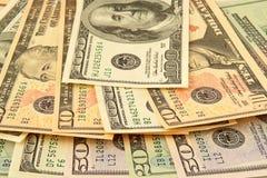 混合的钞票美元 免版税图库摄影