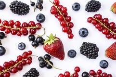 混合莓果和果子在白色背景 成熟蓝莓、黑莓、草莓和红浆果 顶视图 库存照片