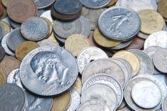 混杂便士和硬币 免版税库存图片