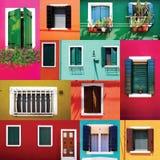 混杂的五颜六色的Windows墙壁和门收藏 免版税库存图片