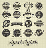 混杂的体育标签和象 库存例证
