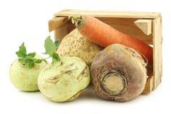 混杂的圆白菜和根菜类在一个木板箱 免版税库存照片