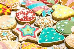混杂的圣诞节姜饼曲奇饼 免版税库存照片