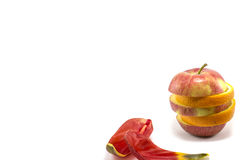混杂的成熟苹果和桔子 免版税库存照片
