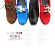 混杂的有色种人鞋子 库存图片