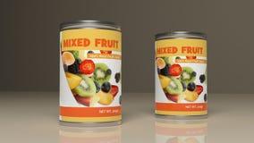 混杂的果子金属罐头 3d例证 库存照片