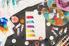 混杂的水彩油漆剪影顶视图在a的 库存照片