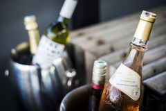 混杂的瓶在冰致冷物的食家酒用桶提 库存照片