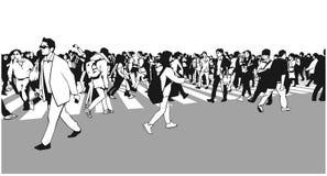 混杂的种族人群横穿斑马的例证 皇族释放例证