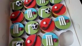 混杂的箱子体育杯形蛋糕、蟋蟀橄榄球和曲棍球 库存照片