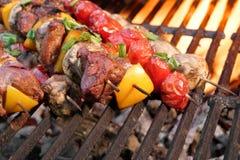 混杂的肉和菜在木炭烤肉格栅的Kebabs 免版税库存图片