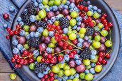 混杂的莓果板材 库存照片