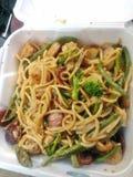 混杂的菜和所有肉低mein 免版税库存照片